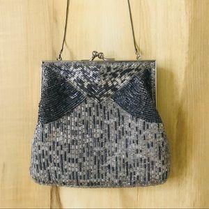 Vintage Handmade Beaded Purse Silver Evening Bag